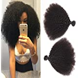 BODHI TREE 10-24 Inches 3 Bundles per Lot Unprocessed Virgin Brazilian Afro Kinky Curly Human Hair Extensions for Black Women-Natural Black