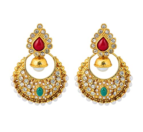 14970aed9ef Amazon.com  Touchstone Indian Bollywood Multicolor Chand Bali Moon Jewelry  Earrings in Antique Gold Tone for Women  Jewelry
