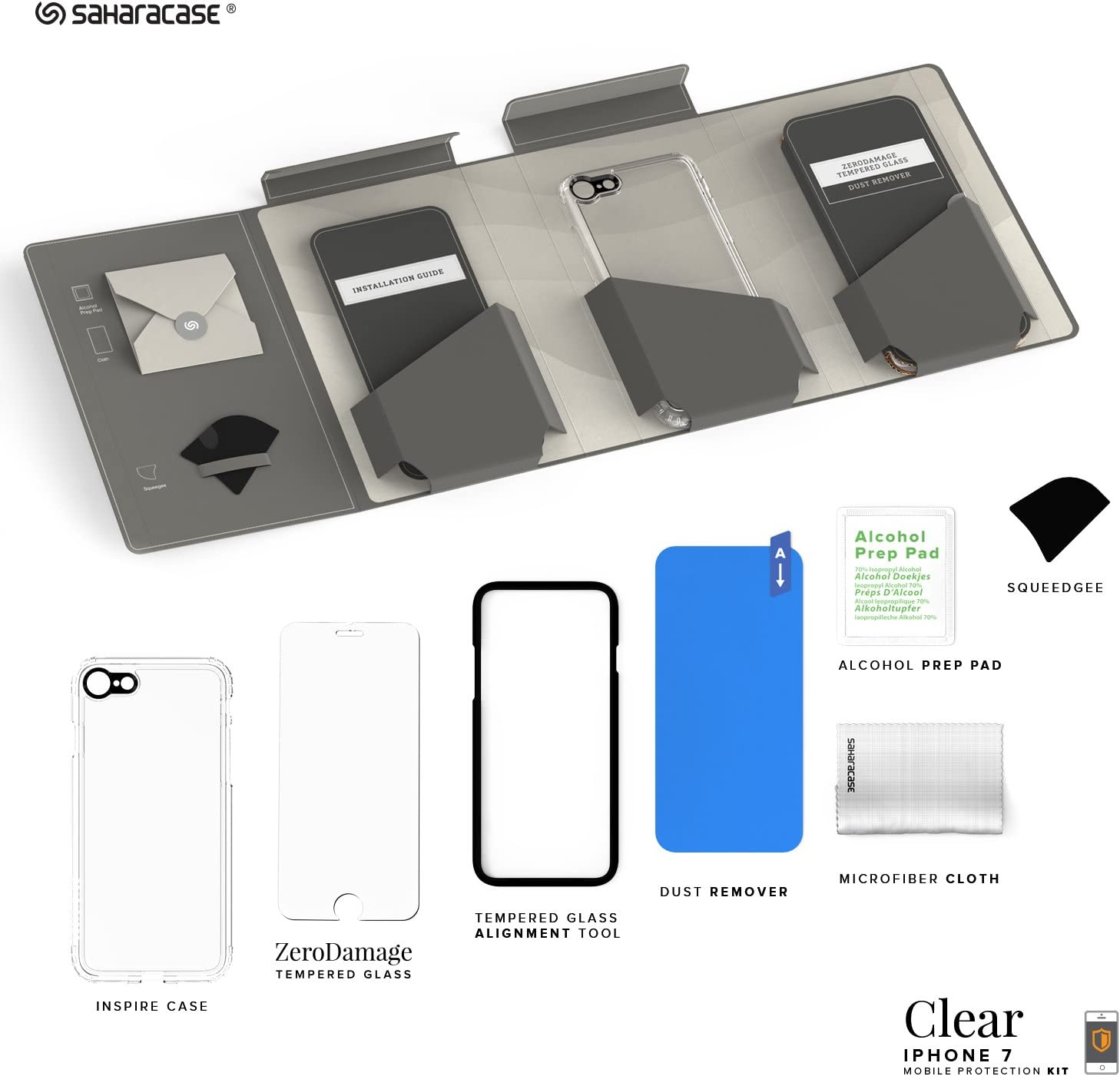 iPhone 6 Case ZeroDamage Tempered Glass Screen Protector + Clear Black Shock-Absorbing Reinforced Bumper Scratch-Resistant Hard Back Fits 6 6s SaharaCase Protective Kit Rugged Slim Fit Cover