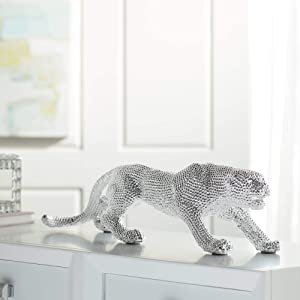 """Studio 55D Prowling 23 1/2"""" Wide Electroplated Silver Leopard Sculpture"""