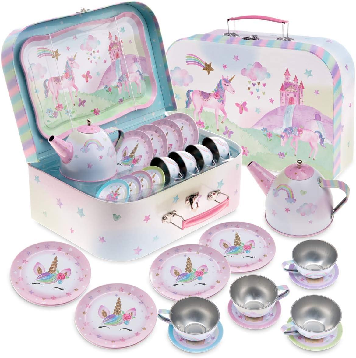 Jewelkeeper 15 Piece Kids Pretend Toy Tin Tea Set & Carrying Case - Party Unicorn Design