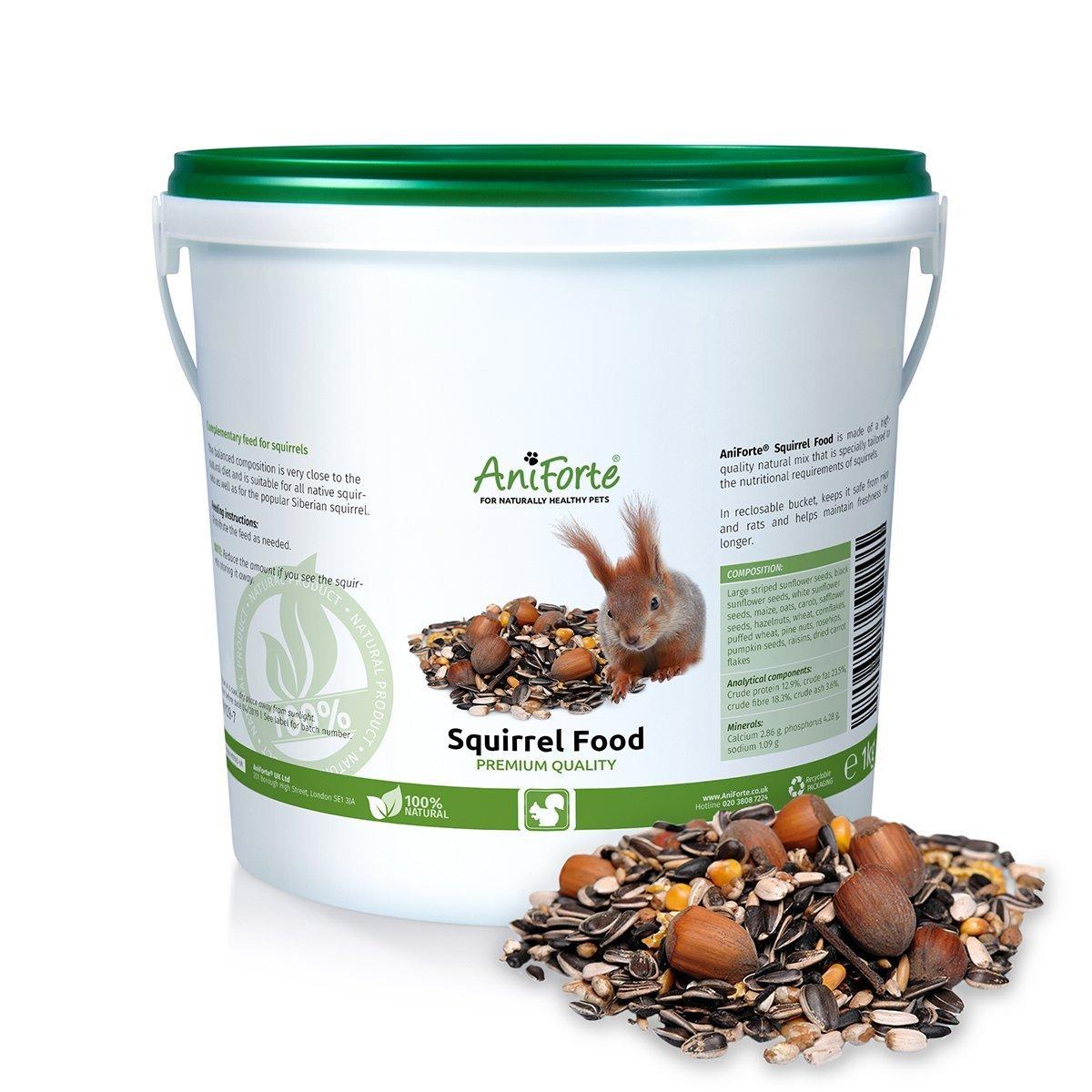 AniForte Squirrel Food Mix 2kg 100% Natural Feed for Squirrels, Chipmunks & Wild Birds | Sunflower Seeds, Hazelnuts, Rosehips, Cedar nuts, Raisins Görges Naturprodukte GmbH