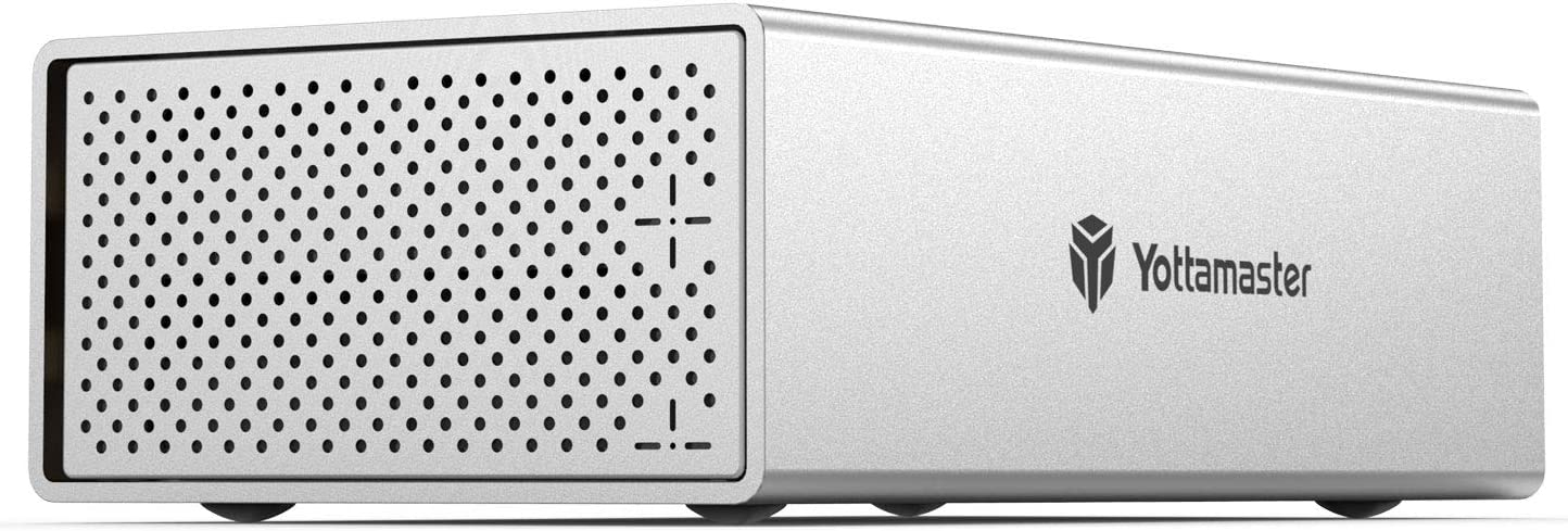 Yottamaster Aluminum Alloy 2 Bay 3.5 inch USB3.0 Hard Drive RAID External Array Enclosure for SATA HDD 2 x 10TB Support & UASP,Mac Style Designed for Personal Storage at Home&Office- [PS200RU3]
