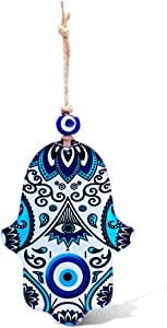 Blue Hamsa Wall Art House Blessing Wall Hanging Decor With Evil Eye for Protection for the Home Made in Glass No Tools Required, Easy to Hang Lovely and Meaningful Gift for Good Fortune and Prosperity