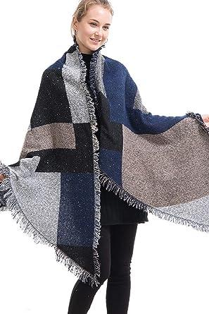 b77e0bf780a5 Landove Femme Écharpe A Carreaux avec Franges Vintage Châle Pashmina Tartan  Plaid Poncho Cape Grande Taille