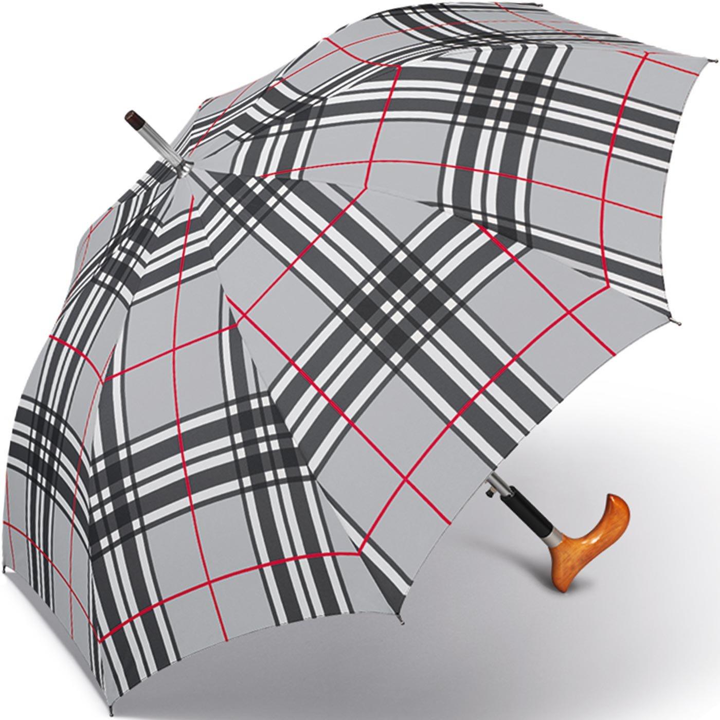 Happy Rain Stützschirm Fritzgriff - Checks Light Grey