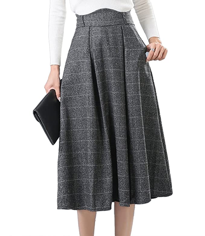 Victorian Skirts | Bustle, Walking, Edwardian Skirts Sanifer Womens Wool Plaid Flared Skirt Winter Fall Long Midi Skirt $28.99 AT vintagedancer.com