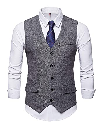 performance sportswear online shop huge sale JOLIME Gilet Costume sans Manches Homme Vintage Tweed Herringbone Casual  d'affaires Mariage
