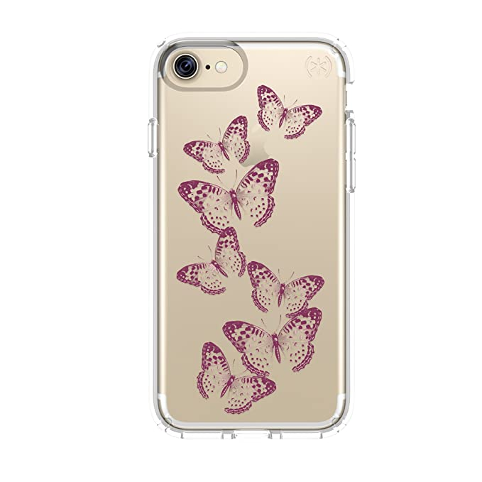 buy popular 77244 d7aee Speck Products 79991-5947 Presidio Clear + Print Cell Phone Case for iPhone  7 - Butterflies Rose Gold/Clear