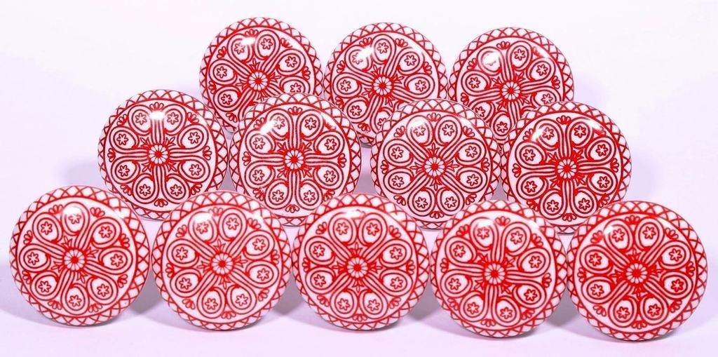 Glitknob 10 Knobs Flat Red Wheel Painted Ceramic Knobs Cabinet Drawer Pull