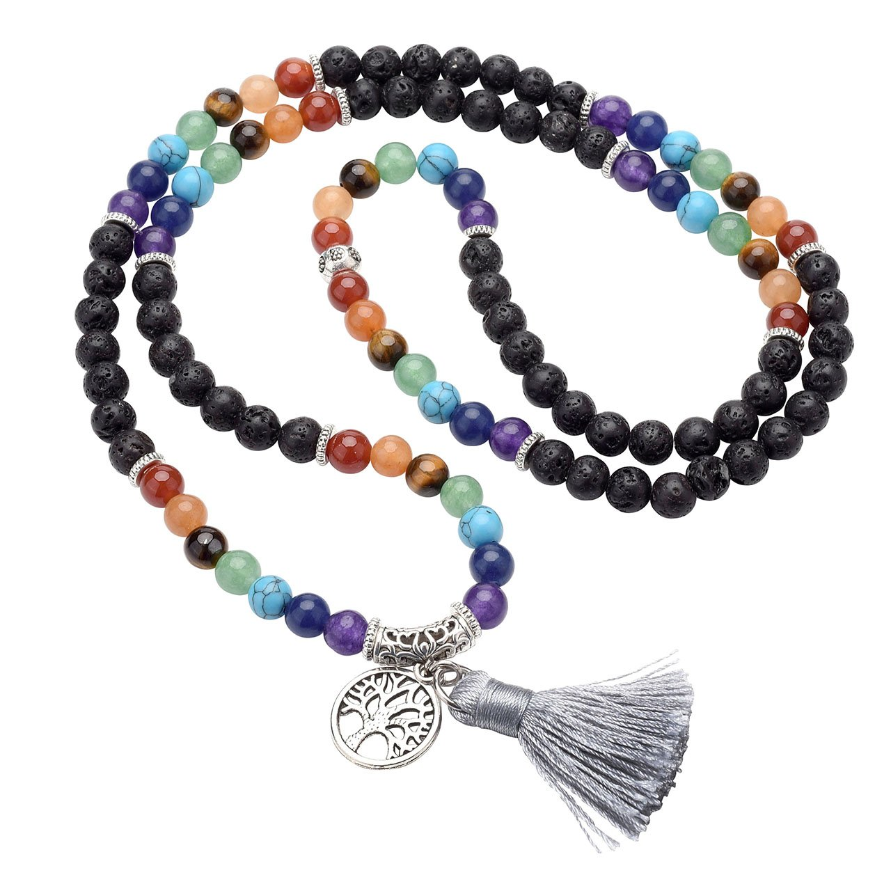 Top Plaza 7 Chakra Buddhist Mala Prayer Beads 108 Meditation Healing Multilayer Bracelet/Necklace W/Tree of Life Tassel Charm (6 Pack) ATPUS65613