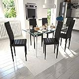 vidaXL 6 pcs Black Slim Line Dining Chair