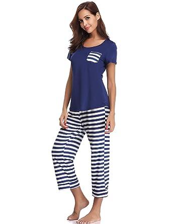 Aibrou Pijamas Verano Mujer Algodon Manga Corto & Pantalones Recortados, Suave Comodo y Fresco: Amazon.es: Ropa y accesorios