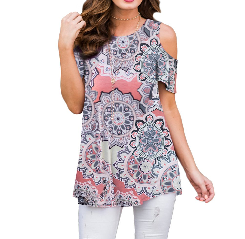 XUERRY Women's Swing Floral Print Casual Cold Shoulder Tunic Tops Short Sleeve Loose Blouse Shirts (Coral Peach, L)