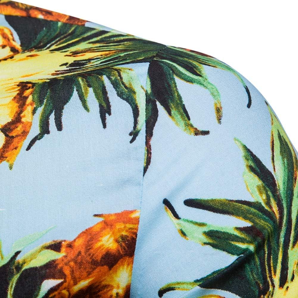 LETSQK Mens Short Sleeve Button Down Pineapple Floral Aloha Tropical Hawaiian Shirt
