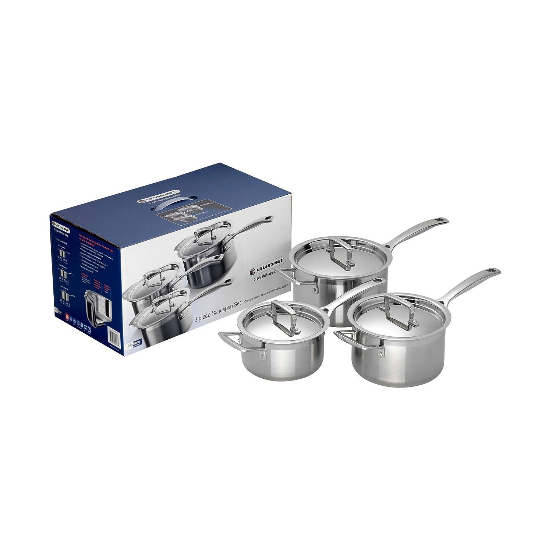 Le creuset cast iron saucepan set - Le Creuset 3 Ply Stainless Steel Saucepan Set Silver 3 Pieces Amazon Co Uk Kitchen Home