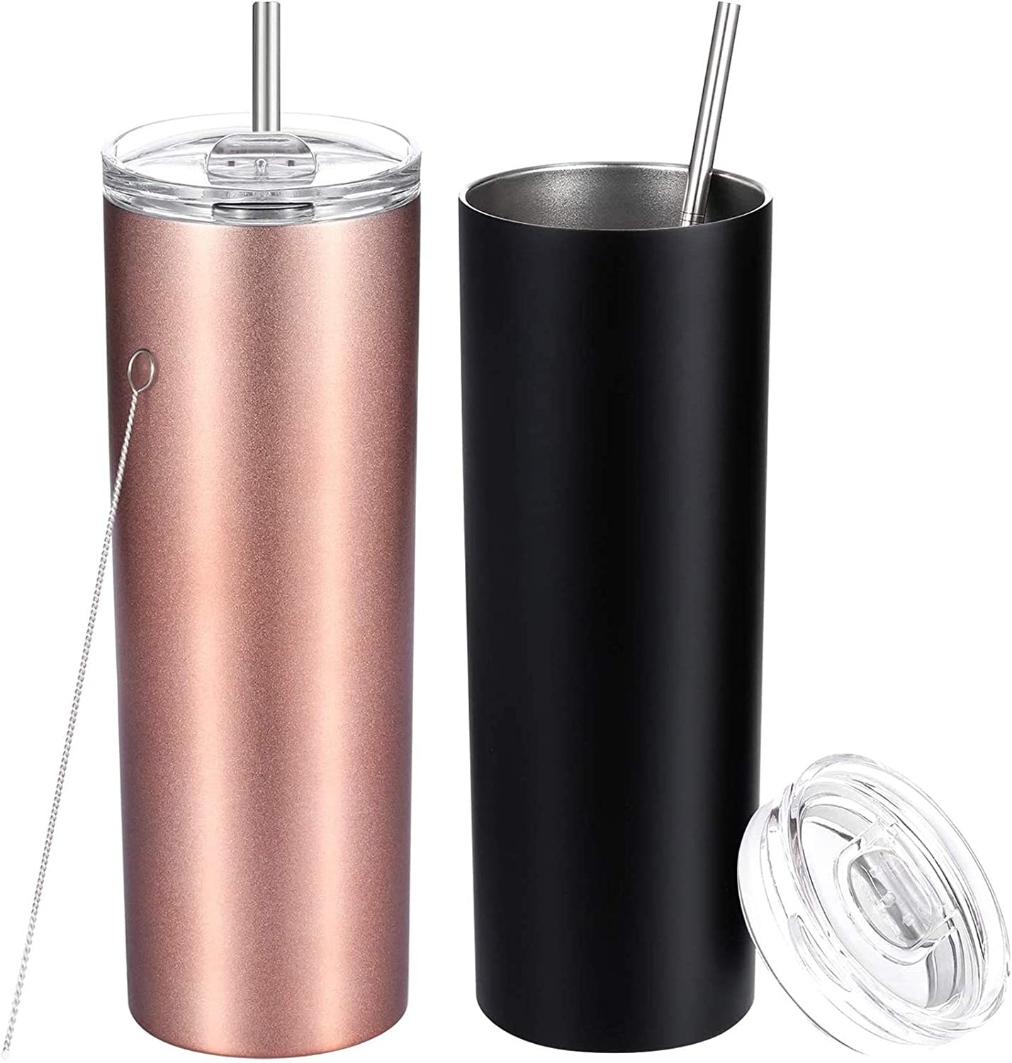16//20oz Double Walled Tumbler Cup w//Straw Stainless Steel Insulated Water Bottle