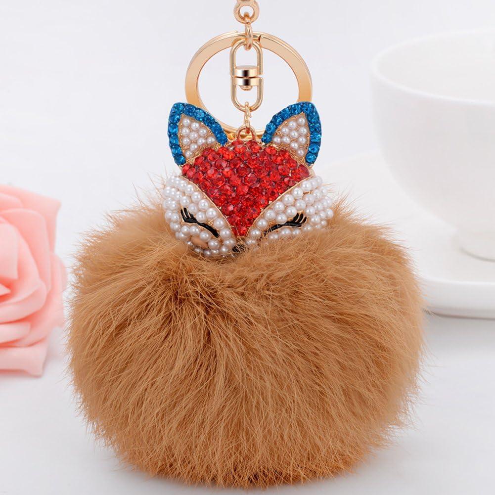 for Womens Bag Cellphone Car Charm Pendant Decoration Rhinestone Pink2 Boseen Genuine Rabbit Fur Ball Pom Pom Keychain with A Fashion Alloy Fox Head Studded with Synthetic Diamonds