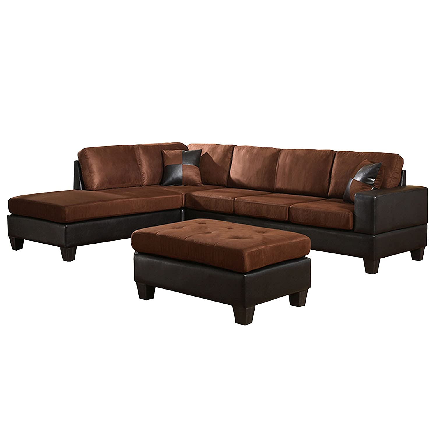 Genial Amazon.com: US Pride Sierra Microfiber Sectional Sofa With Ottoman, Left,  Chocolate Brown: Kitchen U0026 Dining