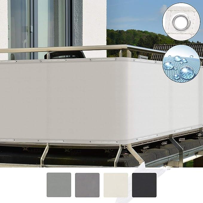 Sol Royal SolVision Balkon Sichtschutz PB2 PES blickdichte Balkonumspannung 90x500 cm - Weiß - mit Ösen und Kordel - in div.