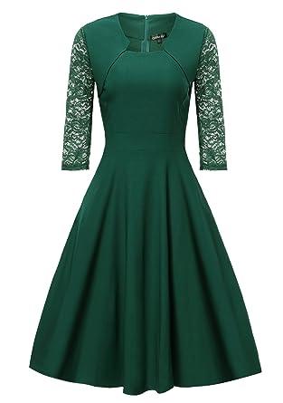 Gigileer Damen Kleider 3/4 Arm mit Spitzen Knielang Abendkleid ...