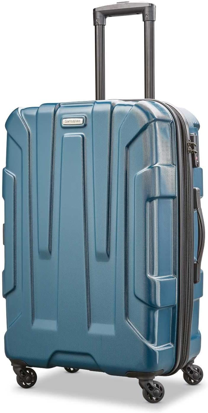 Samsonite Centric Hardside Expandable Luggage with Spinner Wheels, Teal, Checked-Medium 24-Inch