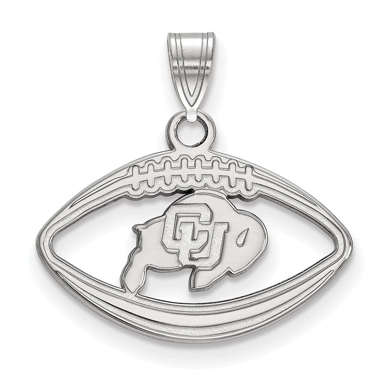 925 Sterling Silver Rhodium-plated Laser-cut University of Colorado Football Pendant