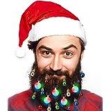 40pcs Christmas Beard Lights OrnamentsGlitter Kit2020with Jewelry Baubles Beads, Bells, Light Up Bulbs, Best Gifts for Men