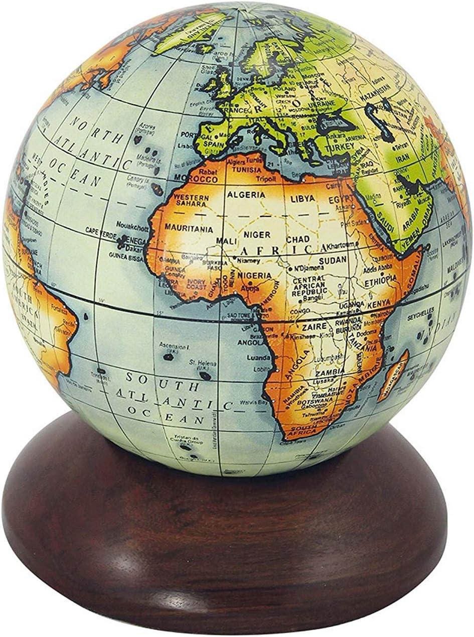 physischer Globus 22 cm Globus auf massivem Messingstand mit Holzsockel