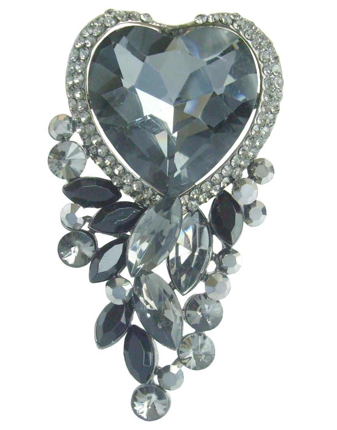 Sindary Wedding 2.56'' Rhinestone Crystal Love Heart Flower Brooch Pin Pendant BZ2079 (Black Tone Black&Gray)