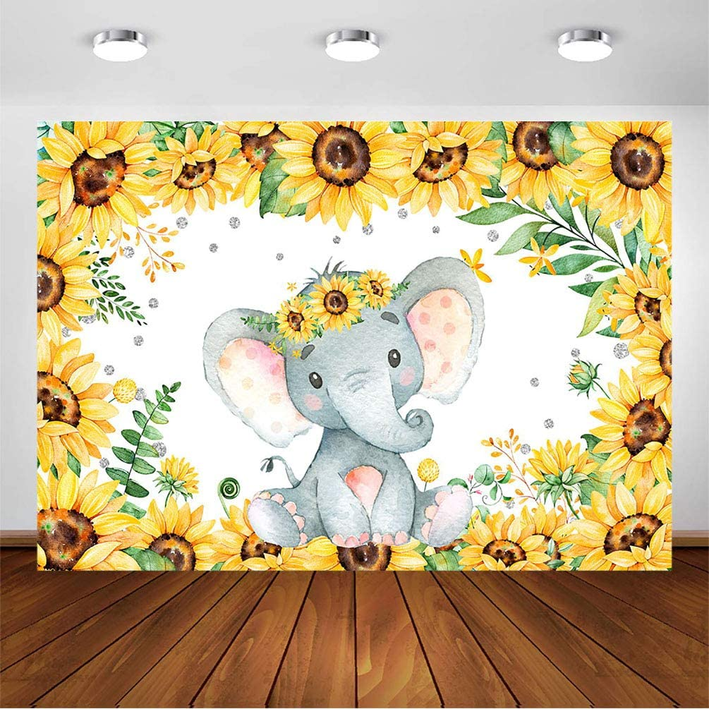COMOPHOTO 7x5ft Elephant Sunflower Backdrop Baby Shower Party Decorations Sunflower Little Peanut Backdrops Kids Newborn Birthday Party Banner Cake Table Decorations Photography Background