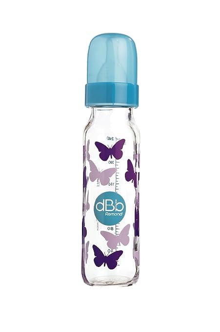 dBb Remond Biberon Verre au Motif Art D/éco Forme Cylindrique Bleu Canard 240 ml