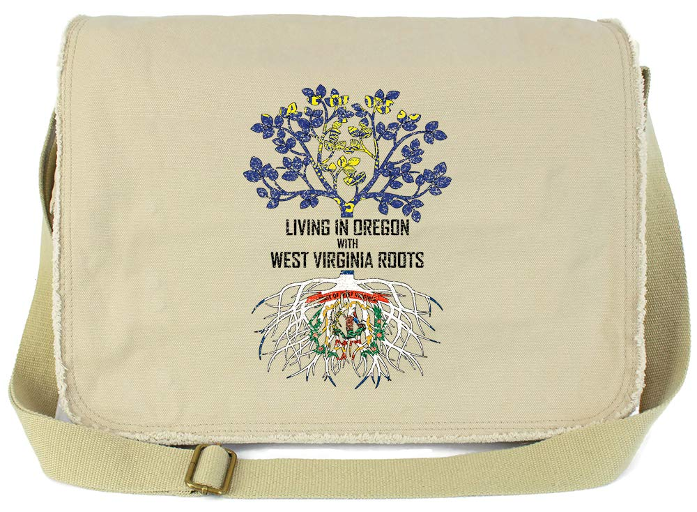 Tenacitee Living In Oregon with West Virginia Roots Grey Brushed Canvas Messenger Bag