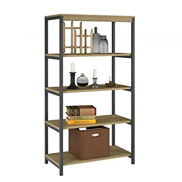 Ameriwood Home Kayden 5 Shelf Bookcase Golden Oak