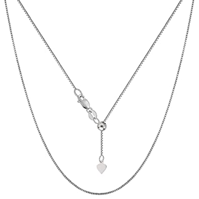 10k White Gold Adjustable Box Link Chain Necklace, 0.7mm, 22