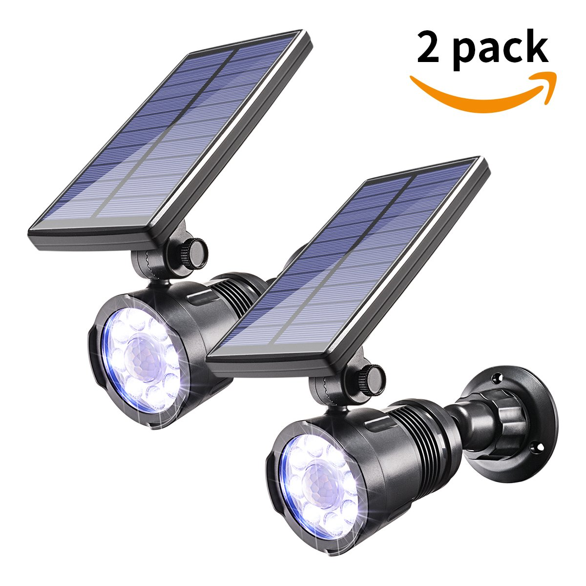 2PC Solar Spotlights LED Motion Sensor light,8 LED Solar Powered Motion Sensor Security Light With 4 Modes, 800LM 5.5v Adjustable Wireless Waterproof Outdoor Landscape Light For Garden Porch Patio