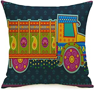Decorative Throw Pillow Case Square Cushion Cover Travel Transit Vehicle Style in Carrier Colorful Floral Design Asia Truck India Indian Vintage Linen Farmhouse Style Pillowcase 20 x 20 Inch