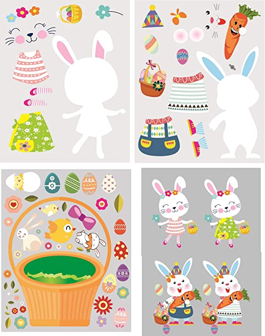 Over 250 Bunny and Rabbit Stickers Bunny Party Supplies Happy Bunny Stickers Party Supplies Pack