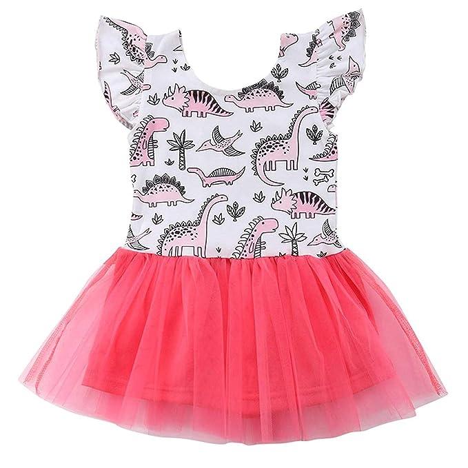 bb7d2f2a6fbb Infant Toddler Kids Baby Girls Dress Dinosaur Tulle Tutu Sleeveless Skirt  Clothes Set (Pink