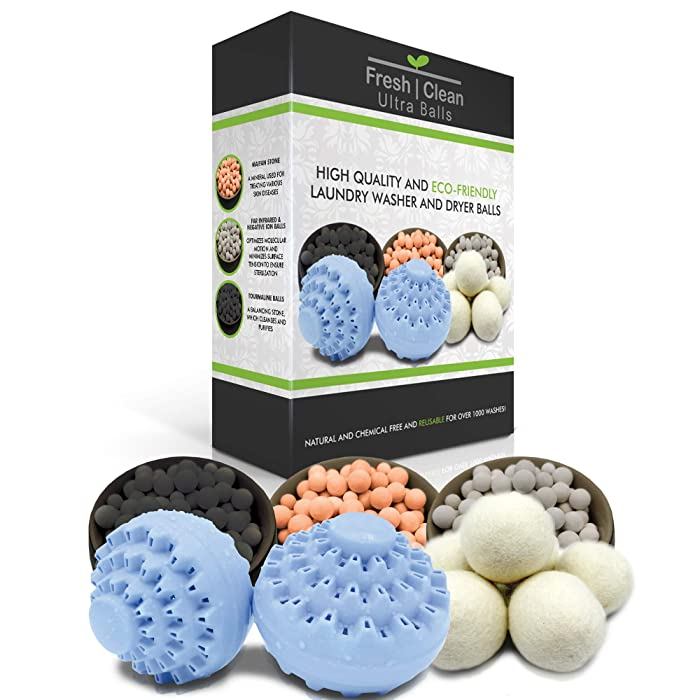 Eco-friendly Ultra Laundry Washer and Dryer Ball Bundle. Washer ball effective for 2000 washes (beads last 1000 washes, two replacement packs included). Reusable wool dryer balls effective for 1000 washes.