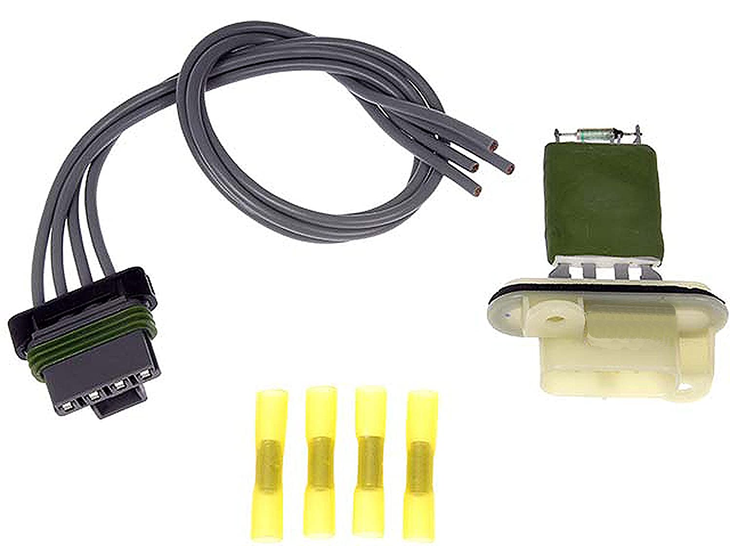 APDTY 084545 Blower Motor Switch Resistor Kit w/ Wiring Harness Pigtail  Connector Fits 2004-