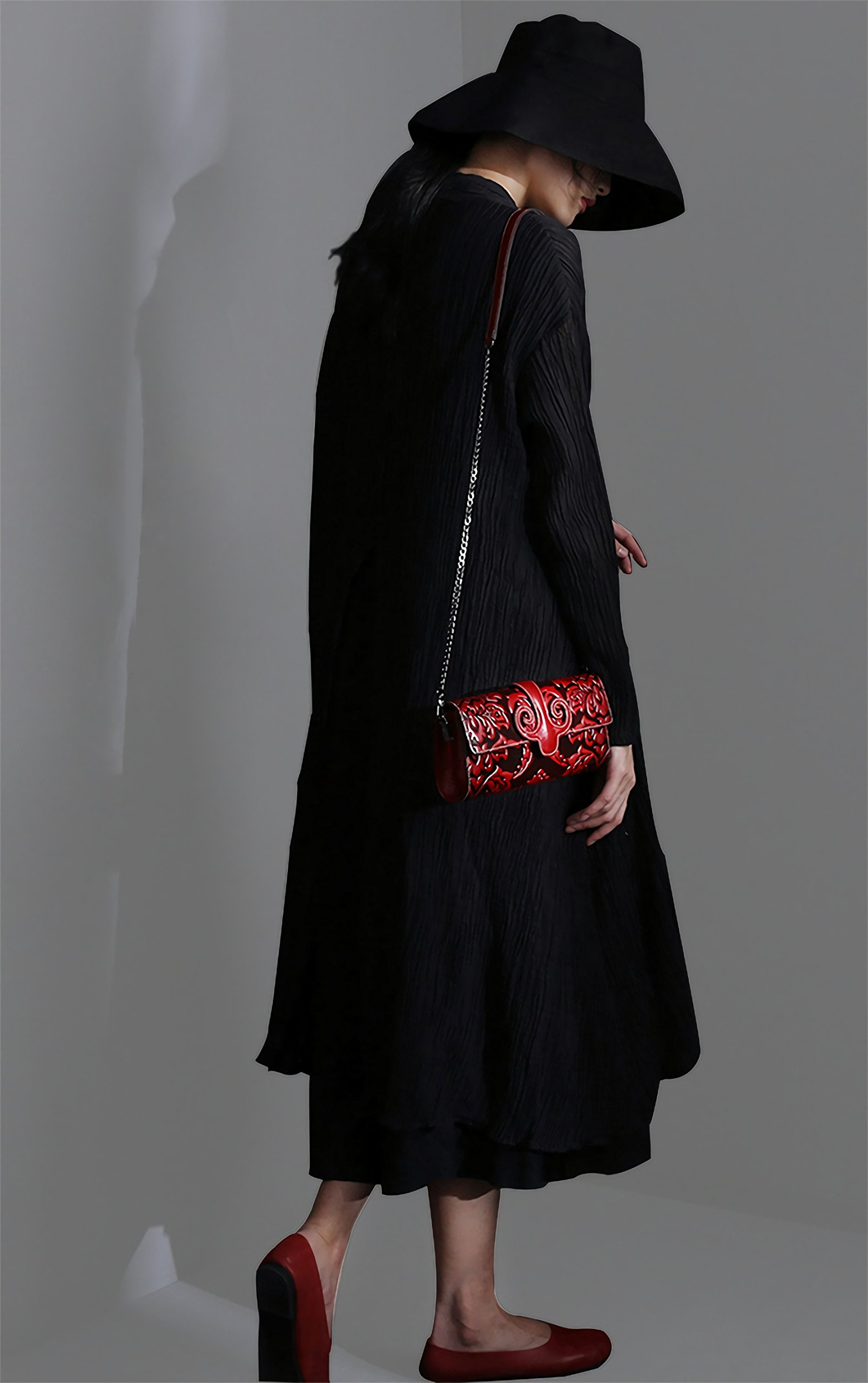 Naisibao Vintage Floral Artisan Leather Handmade Clutch Convertible Crossbody Designer Gift for Women by Naisibao (Image #2)