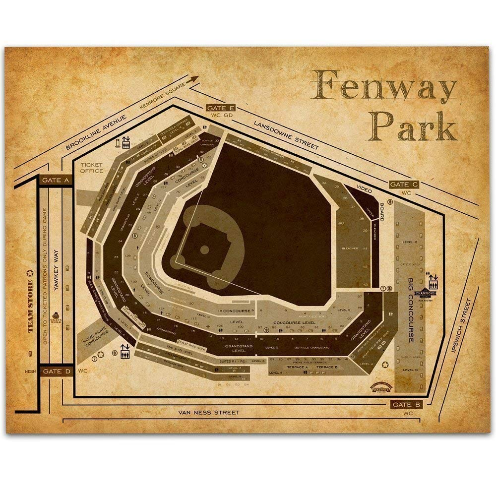 Fenway Park of Boston Baseball Seating Chart - 11x14 Unframed Art Print - Great Sports Bar Decor and Gift Under $15 for Baseball Fans