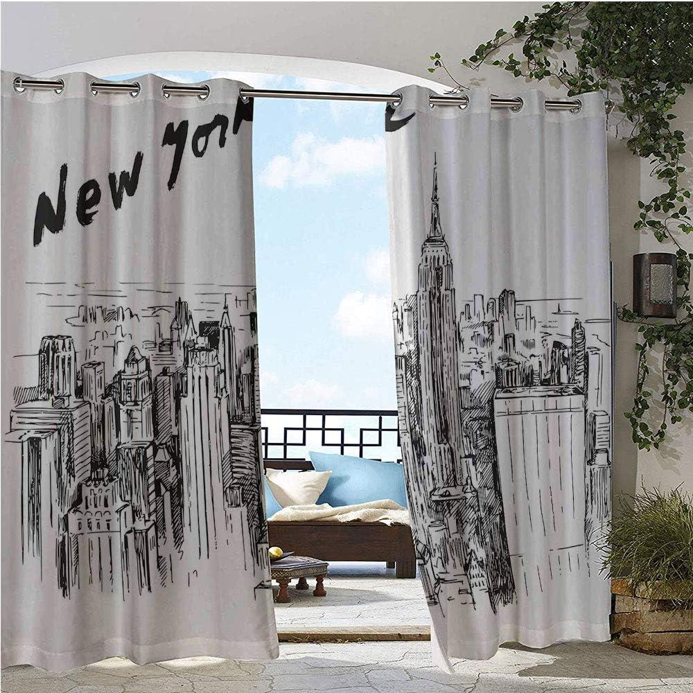 GUUVOR Cortina de privacidad para exteriores para Pergola, Sketchy Simple View of NYC Estatua de la Libertad Símbolo Ellis Island Estampado, aislante térmico impermeable cortina para balcón morado y blanco: Amazon.es: Jardín