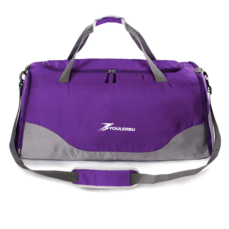 4da358de6d77 Youlerbu Travel Foldable Large Duffel Bag, Lightweight Waterproof Sports  Gym Bag With Shoe Compartment for Men Women (70L, purple)