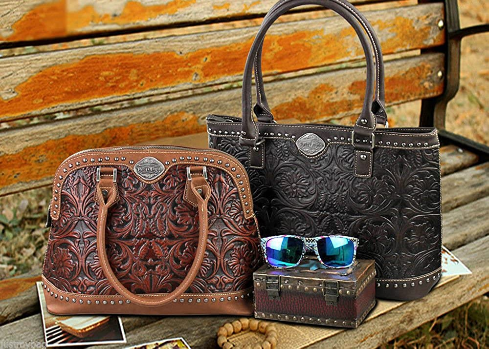 Black//TQ Trinity Ranch Tooled Leather Dome Satchel w// Strap
