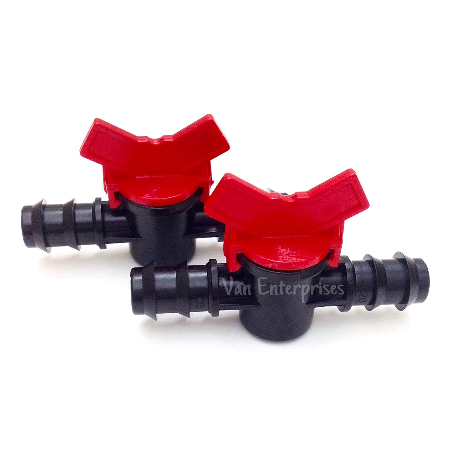 "2PK of 3/8"" ID PVC Ball Valves Hose Barb Connectors (3/8"" ID) for Drip Irrigation Hoses and Aquariums [Various Sizes Available]"