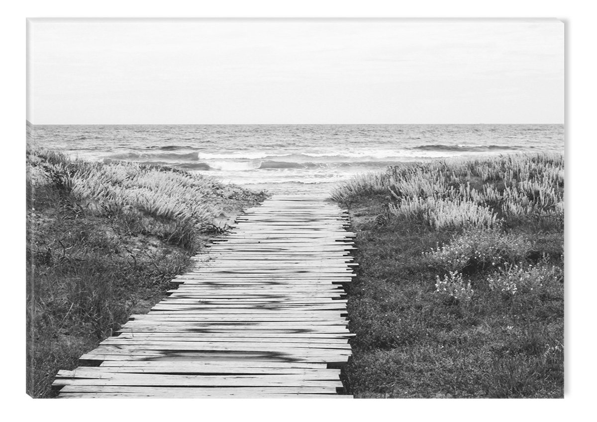 Startonight Canvas Wall Art Black and White Abstract Wood Alley to the Beach, Dual View Surprise Artwork Modern Framed Ready to Hang Wall Art 100% Original Art Painting 23.62 X 35.43 inch