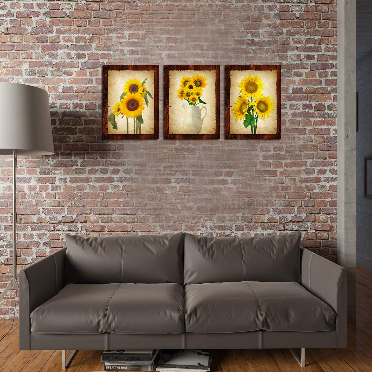 Wall Decor Sunflower Decor Wall Art Prints Black And White Yellow Canvas Painting Flower Plant Daisy Floral Pictures 3 Panels Unframed Bedroom Living Room Bathroom Kitchen Decoration Home Office Modern Artwork Home