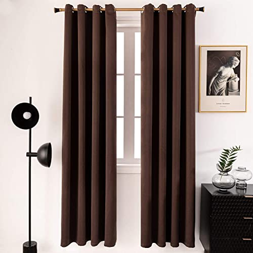 PU MEI Thermal Insulated Blackout Curtains Solid Window Drapes with Grommets-1 Pair,52 95 ,Cocoa Brown